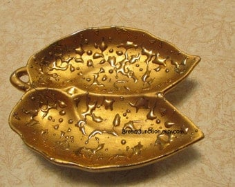 Lenox Weeping Bright Gold Dish, Ash Tray, Trinket Dish, Double Leaf Dish, Hand Decorated 22K Gold ~ BreezyJunction.etsy.com