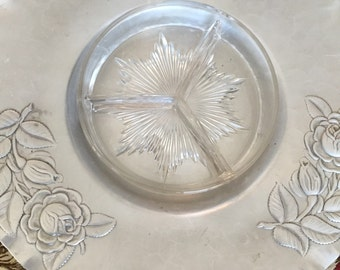 Hammered Aluminum Tray with Glass Insert