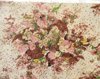Vintage Floral Barkcloth Fabric 2.44 Yards Gold, Pink, Yellow, Brown and Green Mid Century Modern, Drapery, Curtain, Upholstery, Yardage