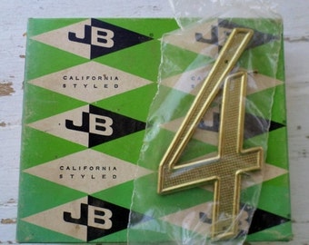 "ON SALE Vintage, Jaybee, House Number, 4, Four, California Styled, 4"", 4404-03-01 Solid Polished Brass Non-Rusting, New Old Stock, Made in U"