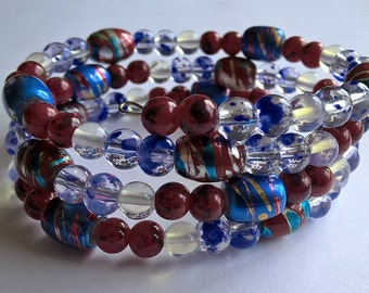 Oval Shape Memory Wire Bracelet: Red, White, and Blue, Moonstone Glass Beads