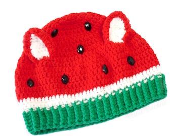 Watermelon Kitty Beanie - Custom Fruit Hat with Cat Ears - Kawaii Animal Ears Beanie - Watermelon Hat - Crochet Fruit Beanie - Cat Ears Hat