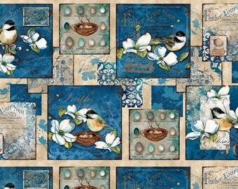 Feather Your Nest Fabric Panel with Chickadees Dogwood Yardage