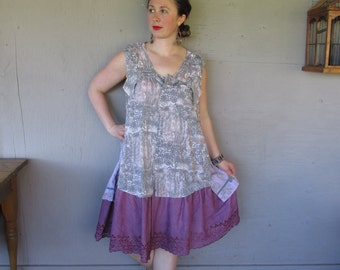 Bohemian upcycled clothing Boho lace tunic dress Romantic shirt Lagenlook top Eco French shabby chic X Large 1 X 2 X by LillieNoraDryGoods