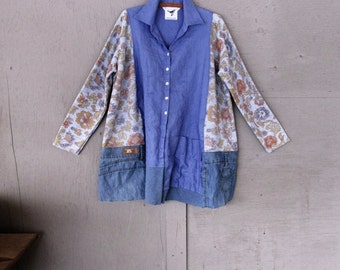 upcycled A line tunic Jacket Linen swing top Lagenlook clothing Eco spring Bohemian flared shirt Tattered artsy tunic by LillieNoraDryGoods