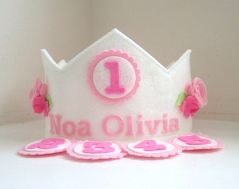Birthday Crown with Interchangeable Numbers, Wool Felt Crown, Flower Crown
