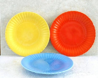 Stangl China Plates Colonial Pattern Stangl Dishes Bread and Butter Orange Blue Yellow Earthenware Depression Era 1930 6 Inch Dessert Dishes