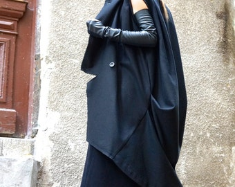 NEW Pre -Fall  Winter Asymmetric Extravagant Black Unique Sleeveless Coat/ Wool/Cashmere Blend/ Large Pockets Coat by AAKASHA A07516