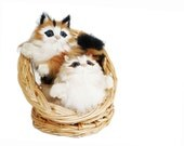 Vintage Cat Figurine Rabbit Fur - Two Collectible Kittens with Straw Basket - 1970s