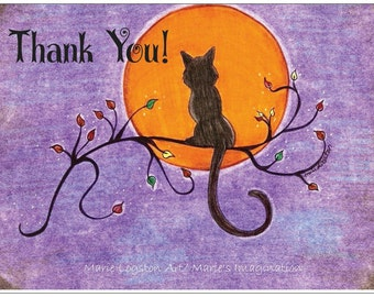 Black Cat /Aspen Tree Branch/ Full Moon  Thank You Cards - Greeting Cards - Note Cards. Includes White Envelopes. Blank Inside.