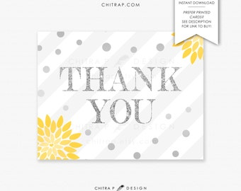 Yellow Grey Thank You Cards - Printable or Printed, Gender Neutral Twins Baby Shower Wedding Confetti Gold Glitter Bridal Floral - #018