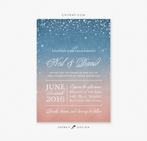 Starry Wedding Invitation Printed Sunset Night Blue Pink