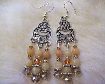 Jade Agate Chandelier Earrings