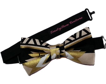 Metallic Desert Sands Bow Tie- Black, White and Gold Houndstooth Bow Tie- Father and Son- Newborn to Adult- Adjustable, Cotton
