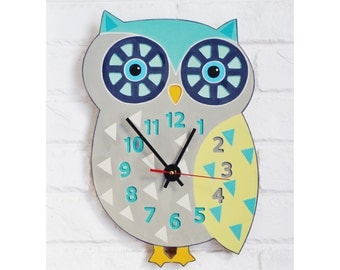 The Large Gray and Mint Owl Wall Clock, hand painted clock, owl design, Home Decor for Children Baby Kid Boy Girl