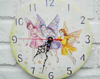 Three Fairies Wall Clock, Home Decor for Children Baby Kid Girl