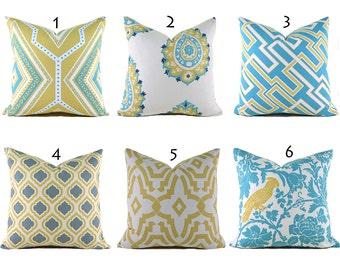 Pillow Covers ANY SIZE Decorative Pillow Cover Blue Pillows Yellow Pillows Premier Prints Saffron Coastal Blue You Choose