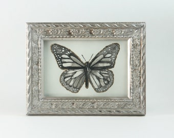 Butterfly Painting, Ink, Gold Leaf, Gilding, Framed