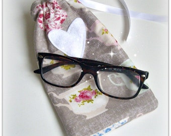 Glasses / Sunglasses Case - Vintage Teacups