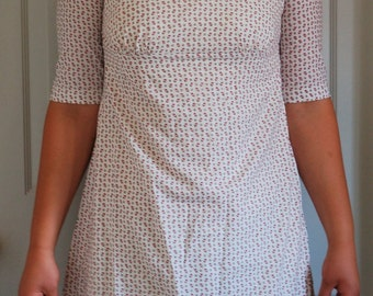 ON SALE--Colorful White Floral Regency Dress.