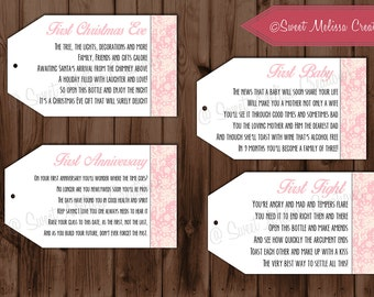 PRINTED - 1st Milestone Pink Lace Design Wine Tags Poems -Bridal Showers/Bachelorette Party/Wine Baskets by Sweet Melissa Creations