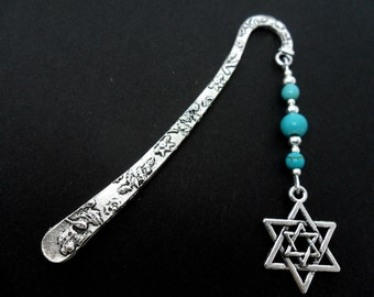 A tibetan silver star of david  and turquoise  beads bookmark.