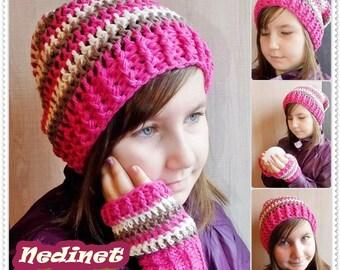 Crochet pattern, slouchy hat, scarf pattern, fingerless gloves, multifunction, crochet hat pattern, crochet scarf pattern, child, adult