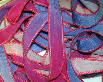 Rose Buds Hand Dyed Silk Wrist Wrap Ribbons// 42 inch silk ribbon//DIY Yoga Wrap Bracelet Ribbons//Silk Ribbon//  By Color Kissed Singles