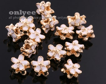 6pcs-6.5mmX6.5mmX4mmBright Gold plated Brass Epoxy Flower Double Side for Beads,Charms,Pendants for making jewelry-White(K1165G-C)
