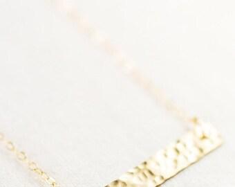 SALE Kaila necklace - gold bar necklace, single strand necklace, hammered gold filled bar necklace, minimal necklace, geometric, maui, hawai