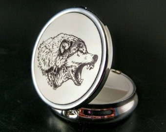 Hand Painted Pillbox - Wolf - Supernatural - Game Of Thrones- Occult Accessory