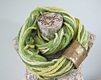 Fake leather cuff infinity scarf, earthy green yellow scarf, gypsy neck warmer, neckwrap