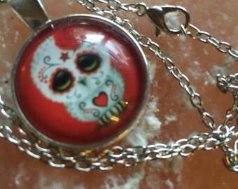 Owl sugar skull necklace