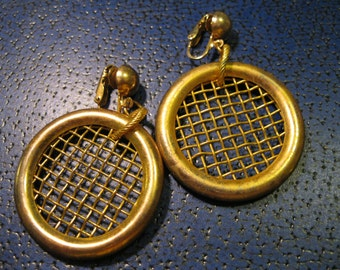 60s earrings clip on 1.5 inch hoops gold tone mesh circles