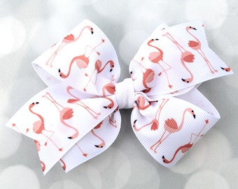 Flamingo Hair Bow - Hair Bows for Girls - Coral Hair Bows - Flamingo Hair Clip - Peach Hair Bow - Baby Hair Bows - Girls Hair Accessories