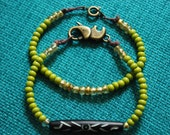 So Fresh and So Green: Set of Two Czechoslovakian Beaded Bracelets with Native hand-painted bone accent