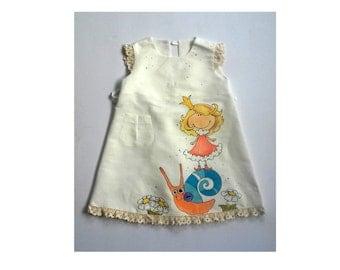 Lace Linen Girl dress - vintage dress - girls white linen dress - painted dress - Hand painted - ONORDER ONLY - children clothing
