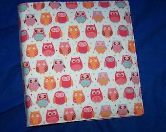 Owl fabric Binder Cover, Coupon Binder/School Binder/Family Organizer Binder Pinks, orange owl fabric