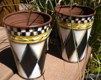 Harlequin Diamonds with Black and White Checks Metal Vases Pencil Holders Desk Organizer Handpainted Beth Baker Artist