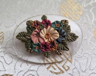 Vintage Lucite Brooch - Vintage Clear Lucite Brooch - Lucite Brooch with Flowers - Vintage Plastic Brooch - Oval Brooch  Lucite Brooch 1930s