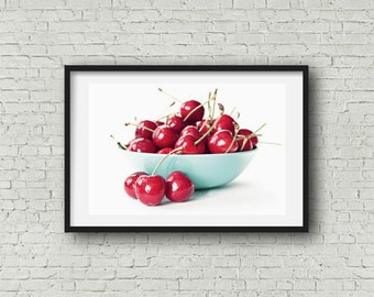 Bowl of Cherries Food Photography Kitchen Decor Red Aqua Colorful Food Art Still Life