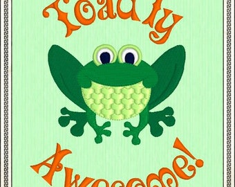 Toadly Awesome Frog - Digitized Embroidery Design