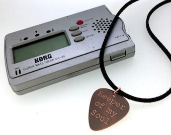 Engraved & Antiqued Copper Guitar Pick Necklace - Keeper Of My Soul-  Boyfriend Gift, Husband gift,  Husband, boyfriend