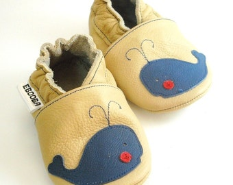 soft sole baby shoes infant handmade whale blue beige 2 3 y bebes garcon fille cuir souple chaussons Krabbelschuhe porter ebooba WH-16-BE-M