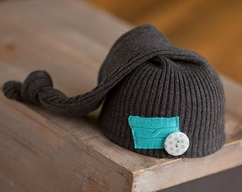 Newborn Boy Hat Upcycled Hat READY TO SHIP Gray Knit Sleepy time Hat with Teal Patch Button Newborn Photography Prop rts Knot Hat Sleep Cap