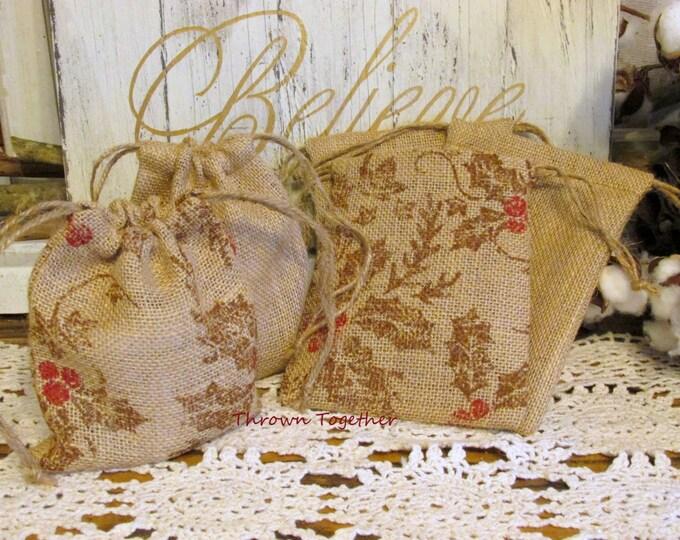 Burlap Christmas Bags, Burlap Gift Bags, Primitive Holly & Natural Burlap Bags, Rustic Favor Bags, 5 Handmade Rustic Bags, Teacher Gift Bags