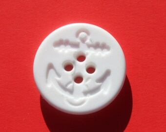 Vintage Large White Round Plastic Anchor Buttons, 1 1/8 inch Craft Sewing Naval Buttons, Lot of 10