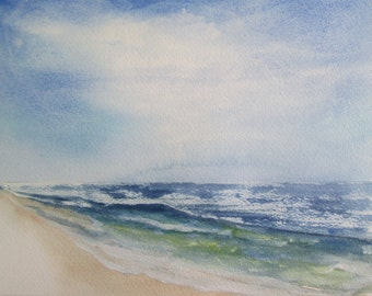 seas on sea~hand painted original watercolor seascape