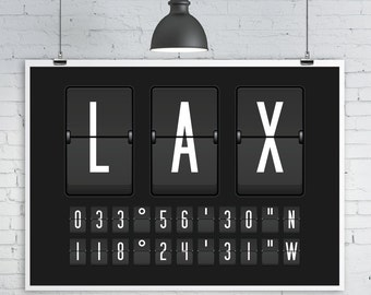 Airport Departures Board Print, Split-Flap Display, Airport code with Longitude and Latitude Co-Ordinates, Personalized Travel Art Print