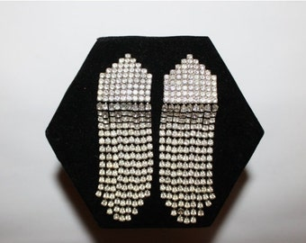 1980s Huge Art Deco Rhinestone Glamour Fringe Clip Earrings